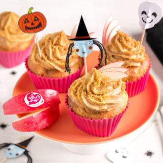 Cupcakes de la sorcière pommes Pink Lady caramélisées et crème spéculoos